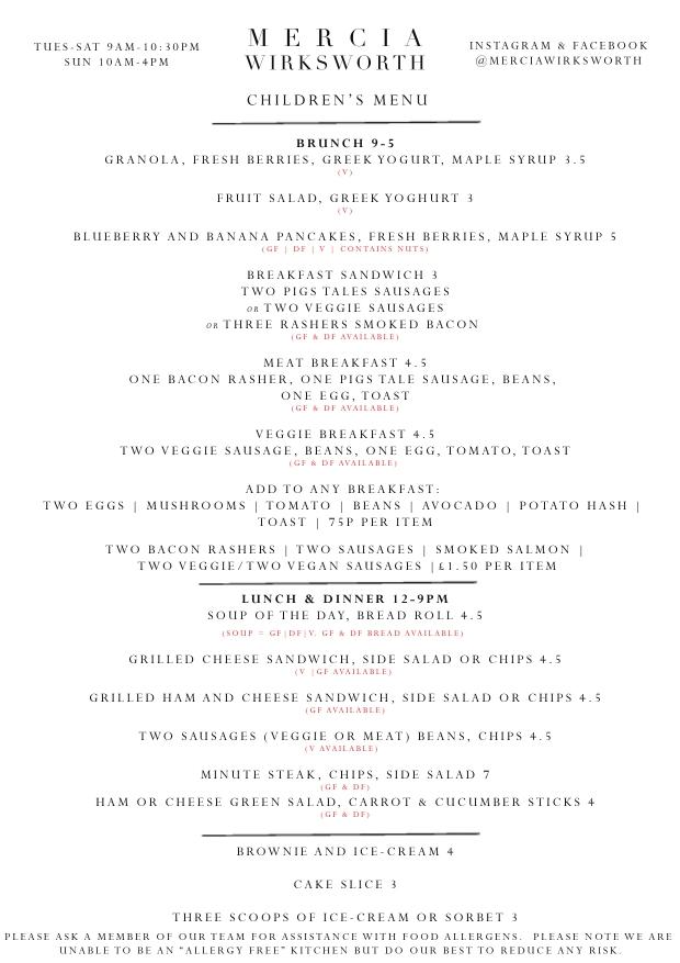 A4 August childrens menu